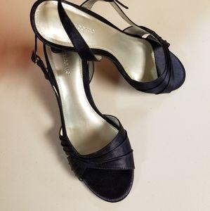 Ladies Navy Satin Liz Claiborne Sandals